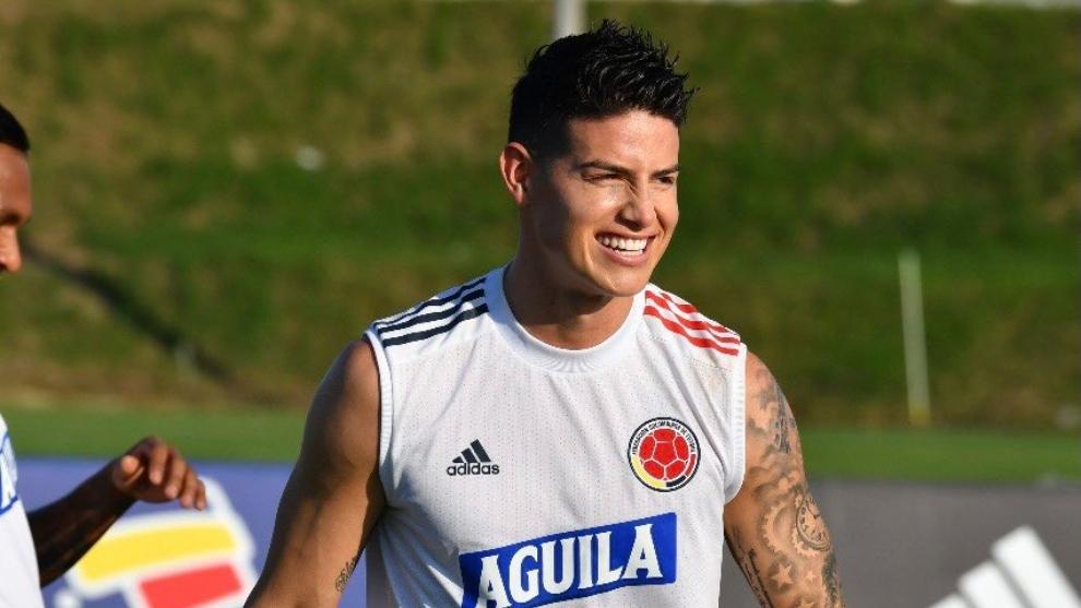 James Rodríguez entrena con la Selección Colombia