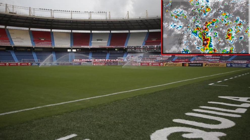 Estadio Metropolitano de Barranquilla y la gráfica metereológica.