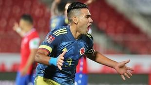 Falcao celebra un gol contra Chile.
