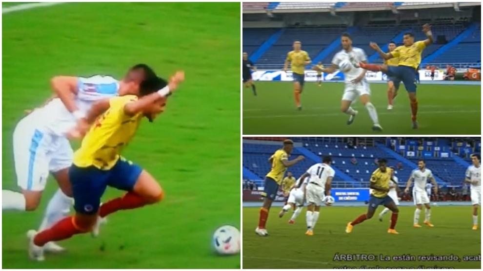 Jugadas de revisión del VAR en el Colombia vs Uruguay