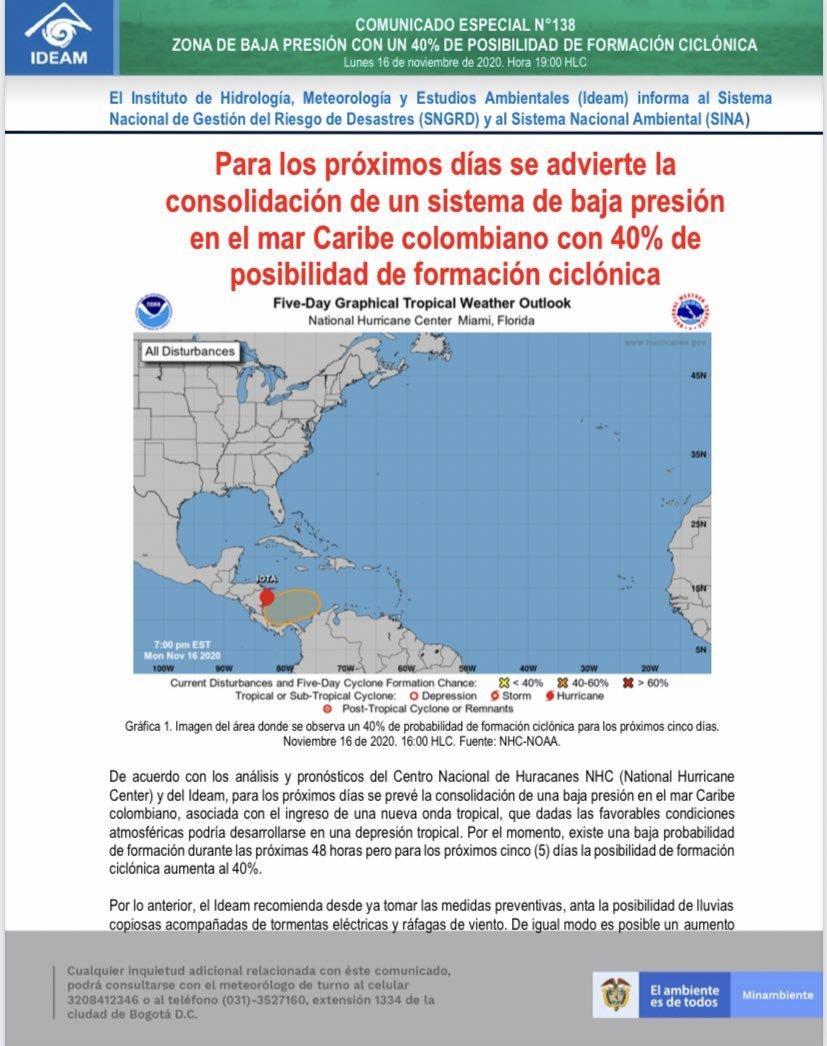 San Andrés hoy: Iota, huracán categoría 4 en vivo: Trayectoria en tiempo real y últimas noticias al momento 1