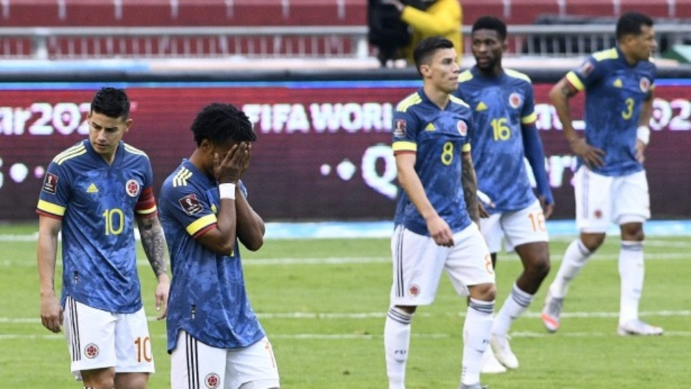 Jugadores de la Selección Colombia, frente a Ecuador.