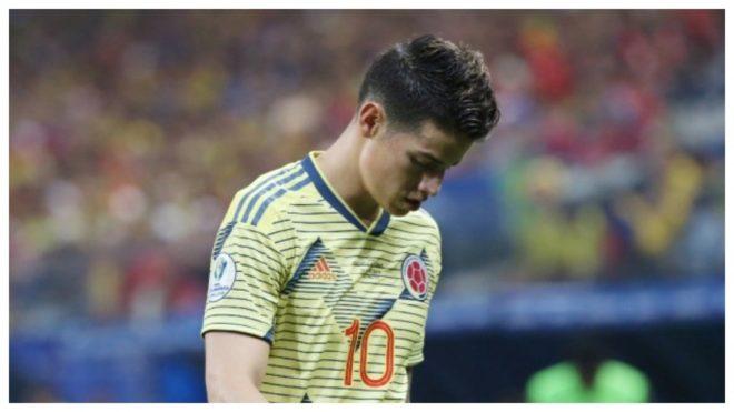 James, cabizbajo, tras perder ante Uruguay