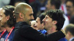 Guardiola y Messi, durante su etapa en el Barcelona