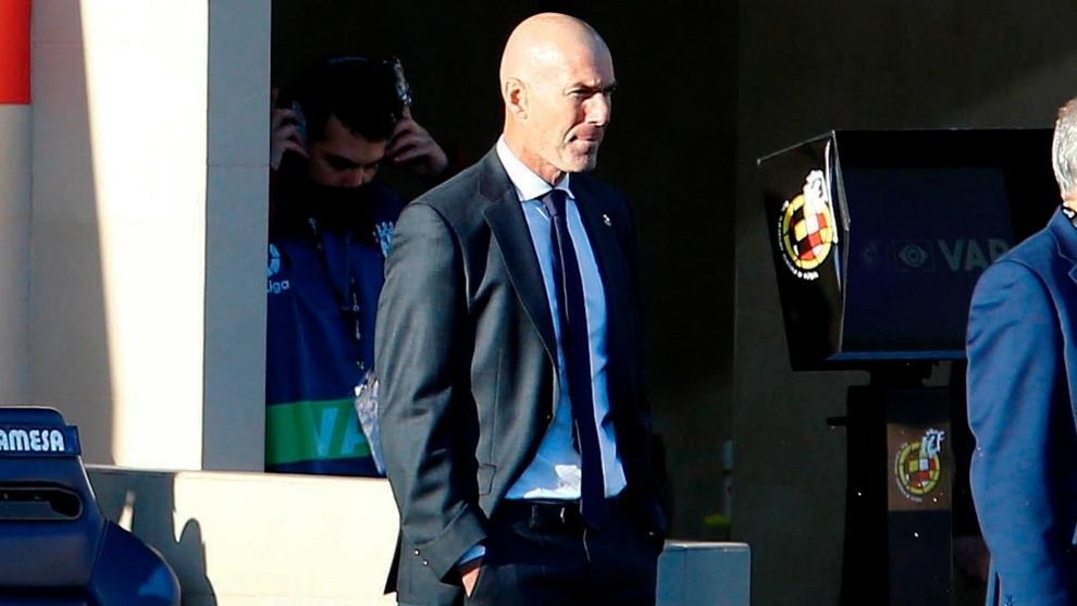 Zidane, durante el partido contra el Villarreal.
