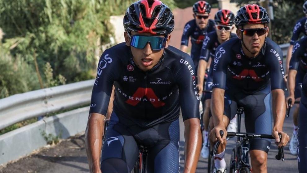 Egan Bernal, en un entrenamiento previo al Tour de Francia 2020.