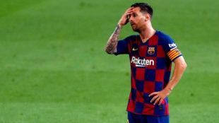 Leo Messi durante un encuentro con el Barcelona.