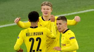 Haaland, durante la celebración de uno de sus goles del encuentro
