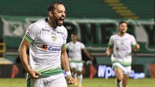 Matías Mier celebra el gol del triunfo de Equidad 1-0 sobre Cali