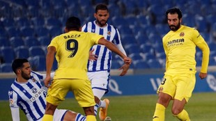 Carlos Bacca en el empate de Villarreal 1-1 ante Real Sociedad.