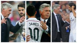 Carlo Ancelotti junto a Isco, James y Sami Khedira en su etapa como...