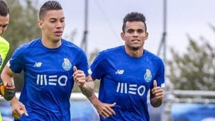 Matheus Uribe y Luis Díaz, en un entrenamiento del FC Porto.