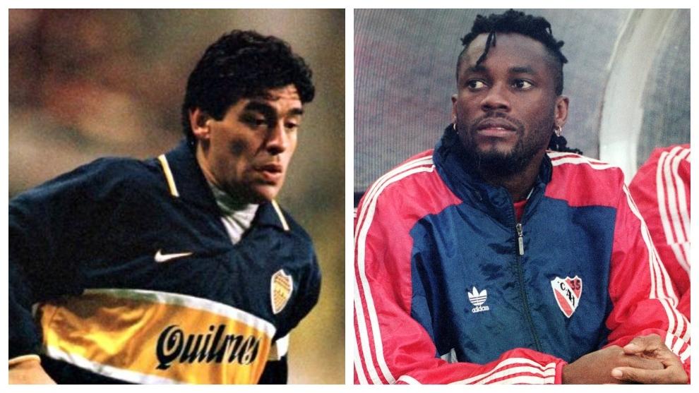 Diego Armando Maradona y Albeiro 'El Palomo' Usuriaga.