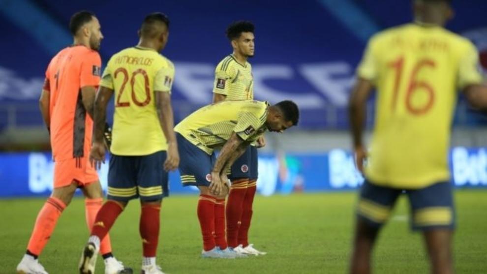 Jugadores de la Selección Colombia después de un partido.