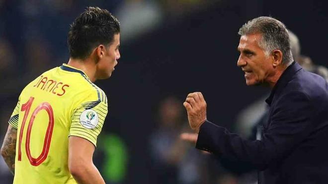 Carlos Queiroz se excusa en el nivel irregular de James durante su...