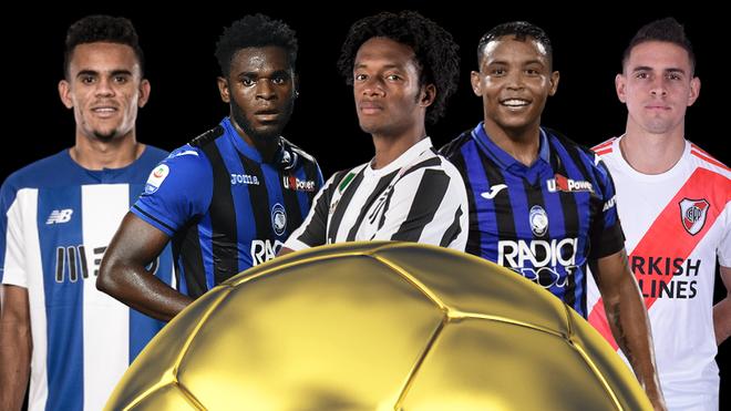 Diseño de Díaz, Zapata, Cuadrado, Muriel y Borré en la disputa por el Balón de Oro para los colombianos.