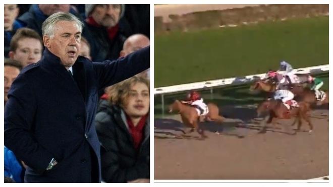 Carlo Ancelotti y su caballo de carreras.