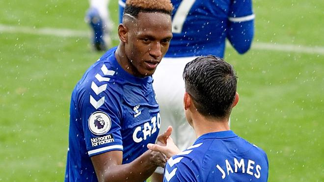 James Rodríguez y Yerry Mina, fórmula del gol en el Everton.