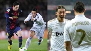 Özil persigue a Messi y Mesut festeja junto a Cristiano.
