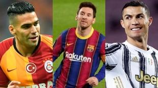 Falcao, Messi y Cristiano Ronaldo.