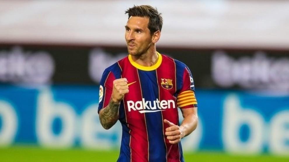 Leo Messi durante un partido con el Barcelona.