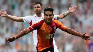 Falcao García celebra un gol con la camiseta del Galatasaray