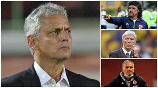 Collage de Reinaldo Rueda, Leonel Álvarez, José Pékerman y Carlos...