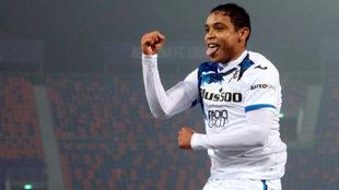 Muriel celebra un gol con el Atalanta