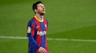 Messi, durante un partido con el Barcelona