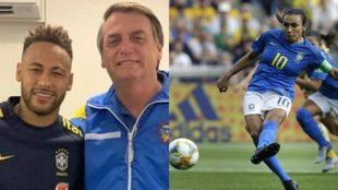 Neymar y Bolsonaro se abrazan y Marta tira un penal.