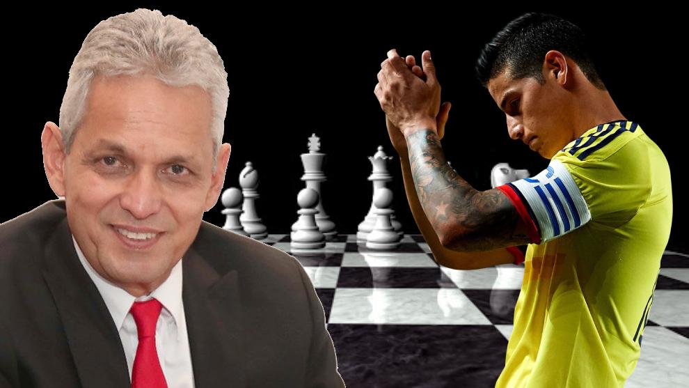 Diseño de Reinaldo Rueda y James Rodríguez en un tablero de ajedrez.