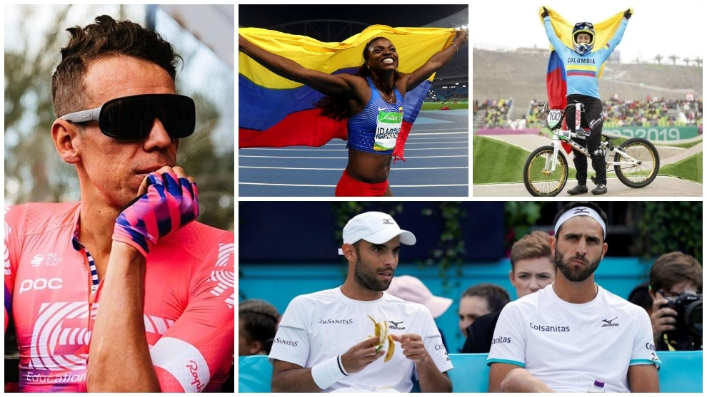 Collage de atletas colombianos.