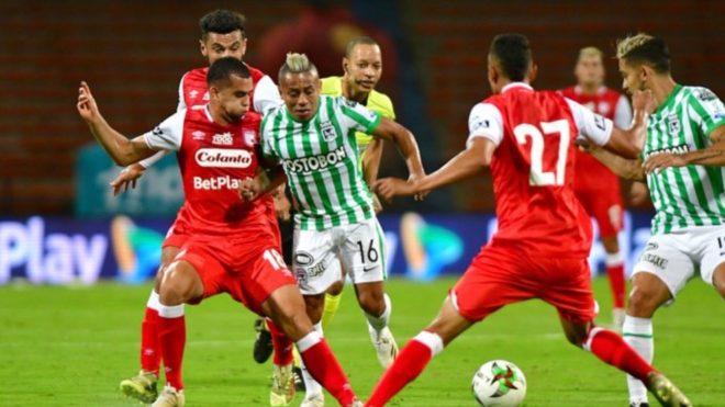 Independiente Santa Fe en la primera fecha de la Liga BetPlay 2021 vs Nacional.