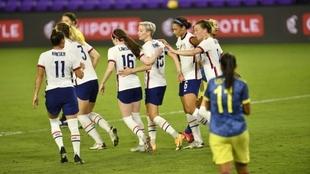 Estados Unidos celebra la victoria ante Colombia.