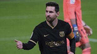 Messi, durante unpartido con el Barcelona