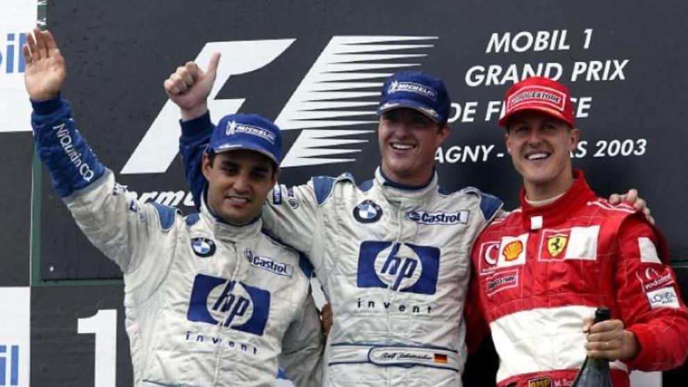 Un podio en la Fórmula 1 cuando Montoya corría con los Schumacher.