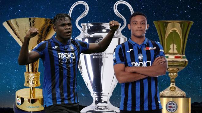 Diseño de Zapata y Muriel con los trofeos de Champions League, Serie...