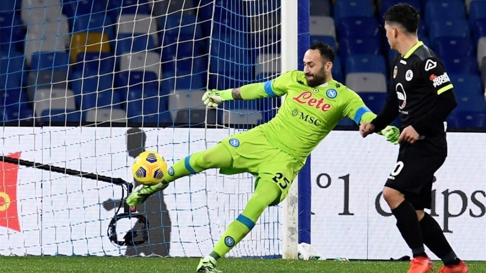 David Ospina, en el partido contra Spezia de Coppa Italia.