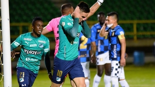 Agustín Palavecino celebra su gol contra Boyacá Chicó.