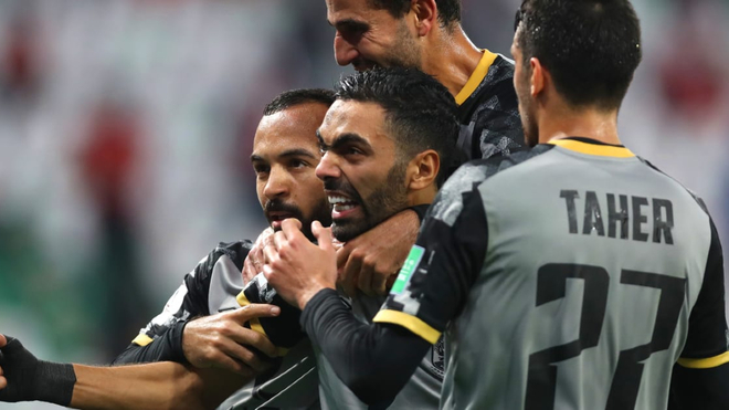 Hussein El Shahat celebra el tanto de la victoria
