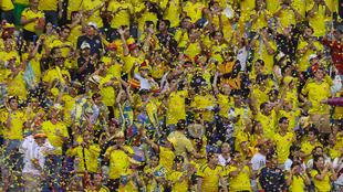 Hinchas de la Selección Colombia en el estadio.