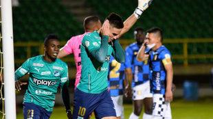 Agustín Palavecino festeja su reciente gol con Cali ante Chicó.