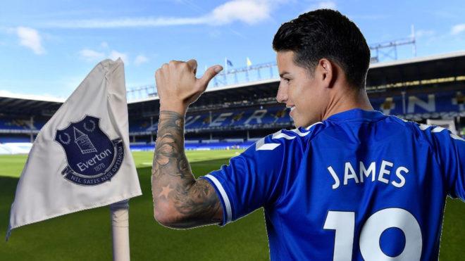 James, el día de su presentación como jugador del Everton
