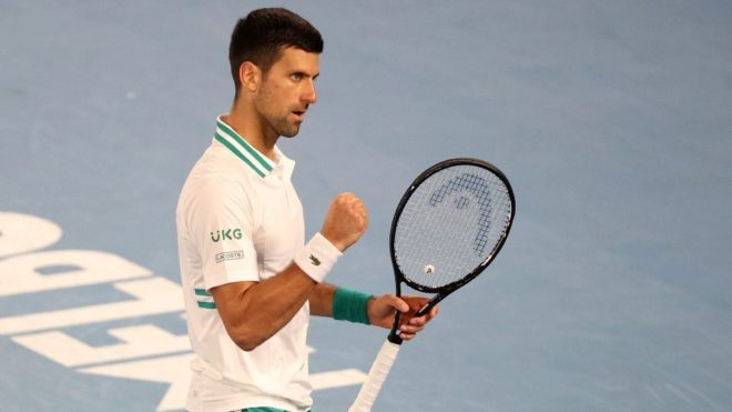 Djokovic celebra un punto durante un partido