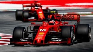 Charles Leclerc con el Ferrari de 2019 en el Gran Premio de España.
