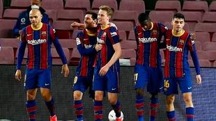 El festejo de Lionel Messi que se despachó con doblete.