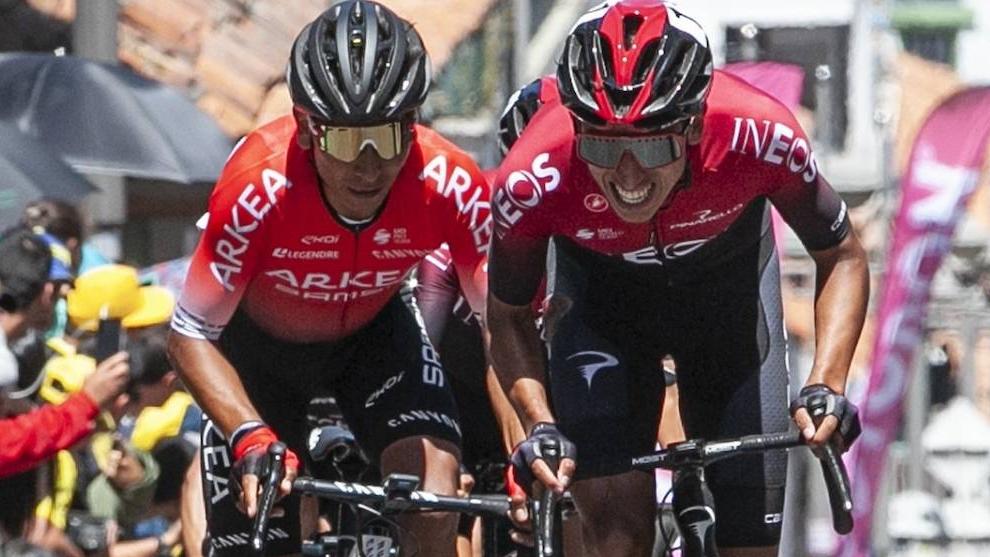 Nairo Quintana y Egan Bernal, en competencia.