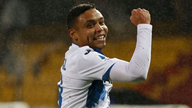 Luis Fernando Muriel festeja un gol con Atalanta.