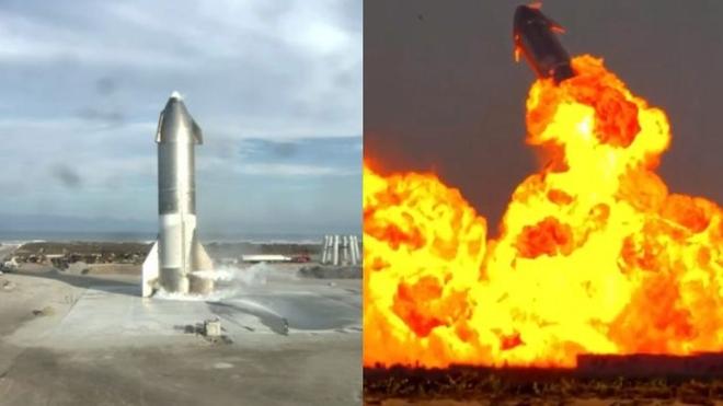 Así explotó un prototipo de cohete de SpaceX minutos después de aterrizar