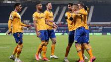 Everton celebra el tanto ante el West Bromwich Albion.